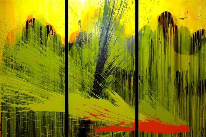 """Aus der Serie """"Auferstehung""""  3 x  200 x 100 cm, Acryl auf Leinen"""