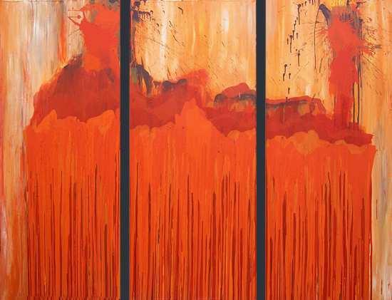 """Aus der Serie """"Auferstehung""""  3 x  170 x 70 cm, Acryl auf Leinen"""