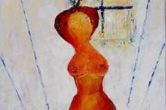 """Aus der Serie """"Eva im Gespräch"""" 100 x 50 cm, Öl auf Leinen"""
