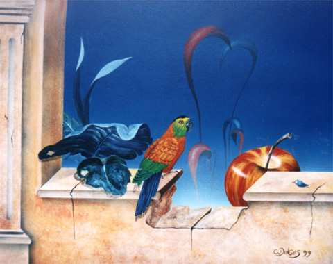 """""""Illusion""""  Acryl , Öl auf Karton,  45 x 55 cm"""