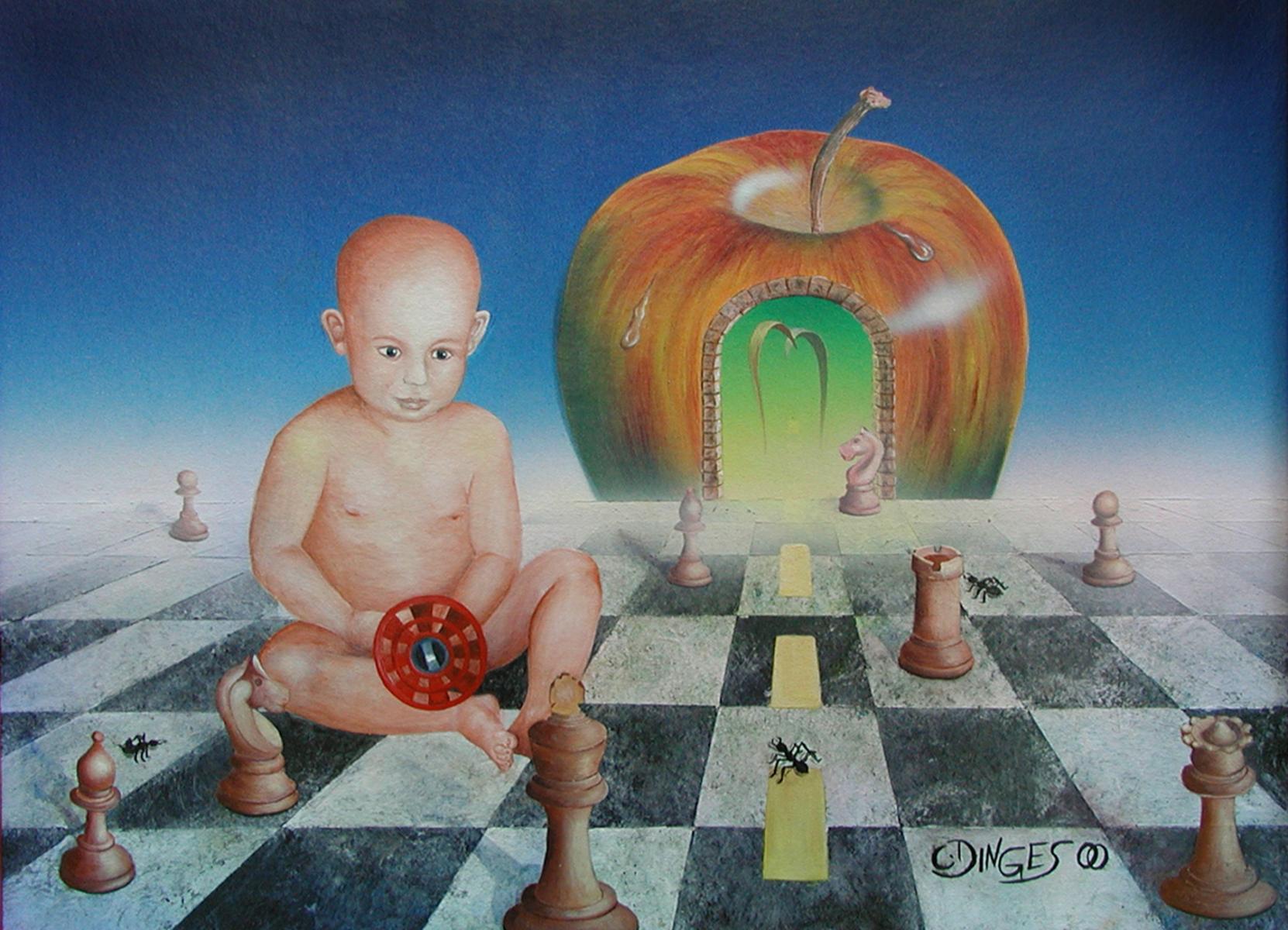 """Das Spiel""  Acryl , Öl auf Karton,  45 x 55 cm"