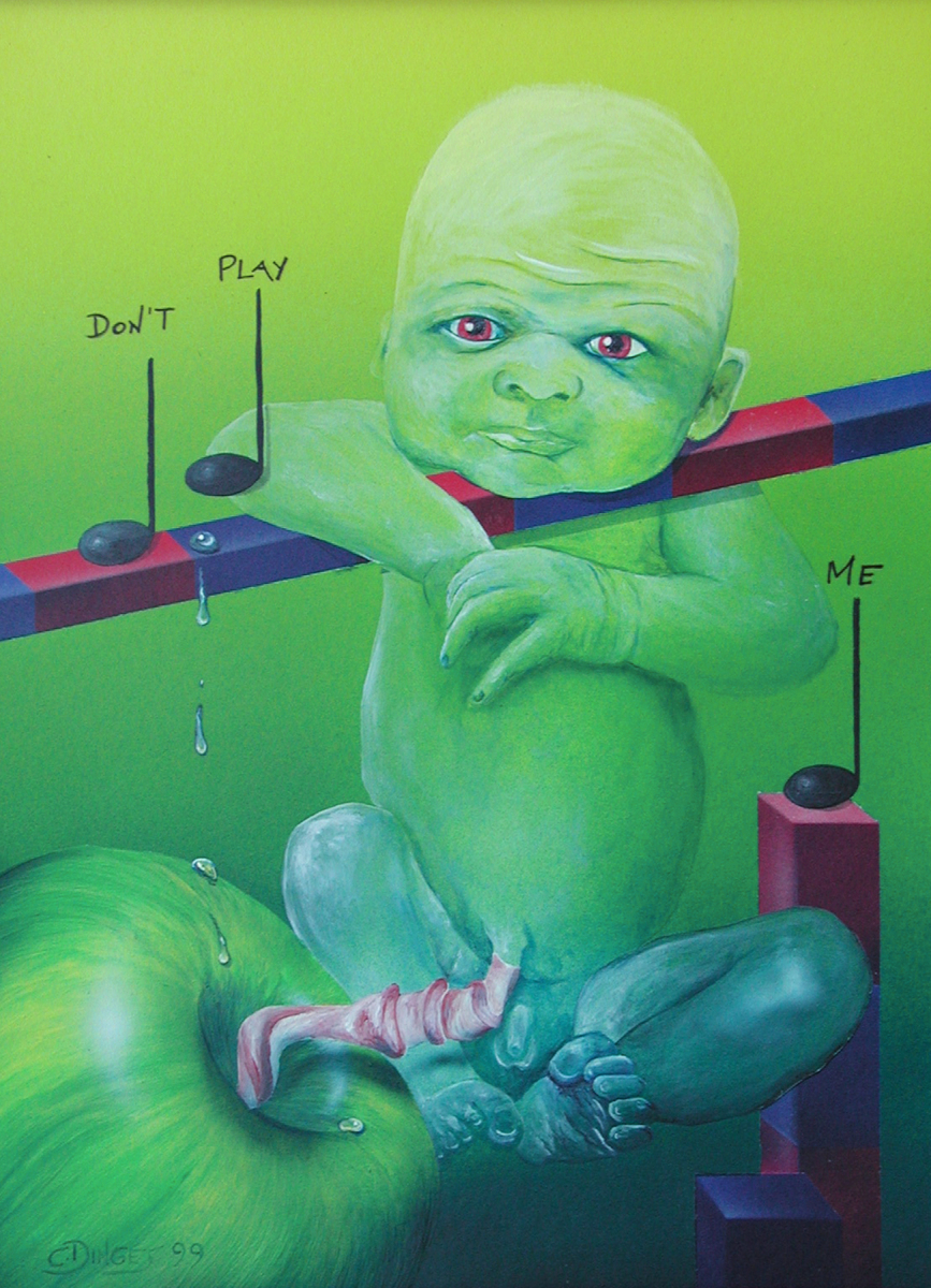 """Don´t play me""  Acryl , Öl auf Karton,  45 x 55 cm"