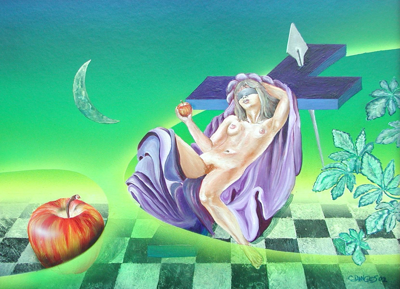"""Eva im Paradies ?""  Acryl , Öl auf Karton, 45 x 55 cm"