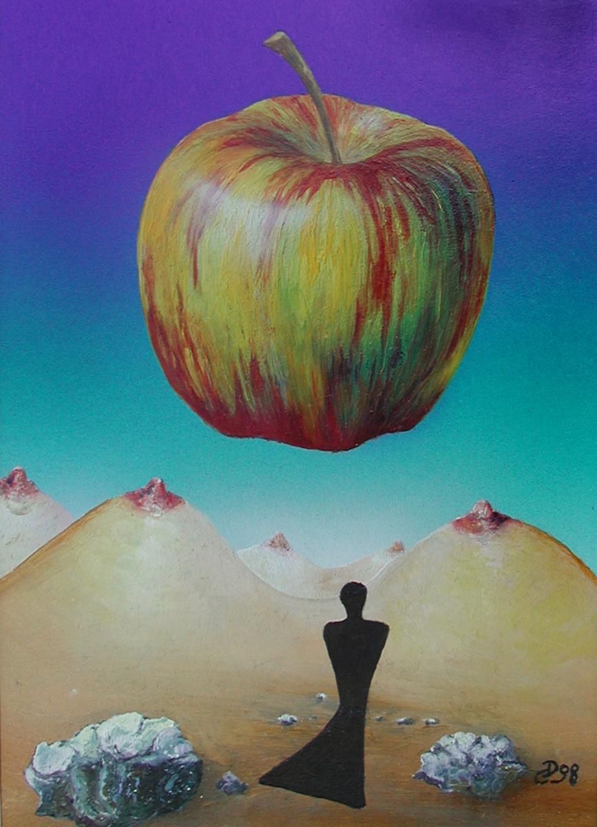 """""""Knieender""""  Acryl , Öl auf Karton,  23 x 28 cm"""