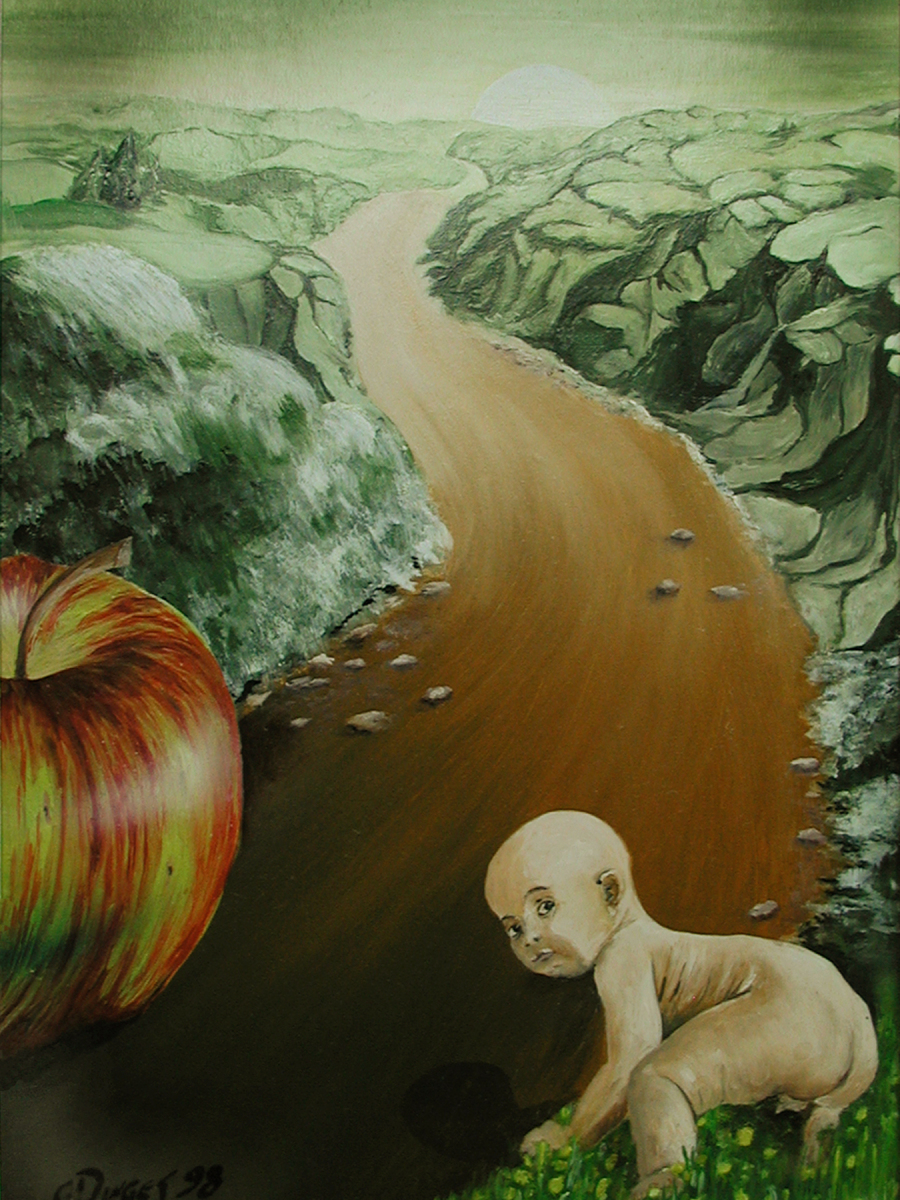 """Der lange Weg""  Acryl , Öl auf Karton,  50 x 34 cm"