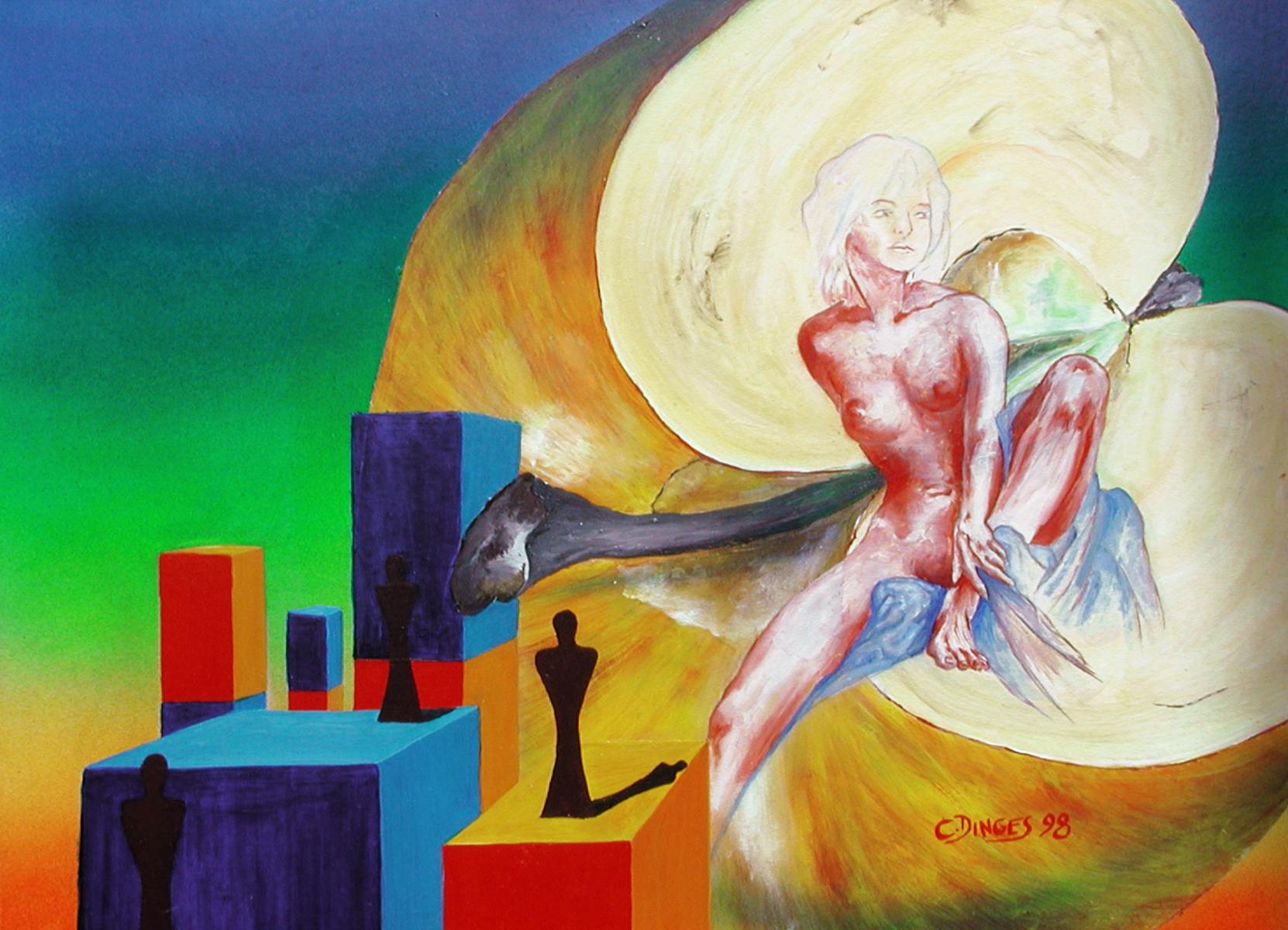 """Männlicher Massstab II""  Acryl , Öl auf Karton,  45 x 55 cm"