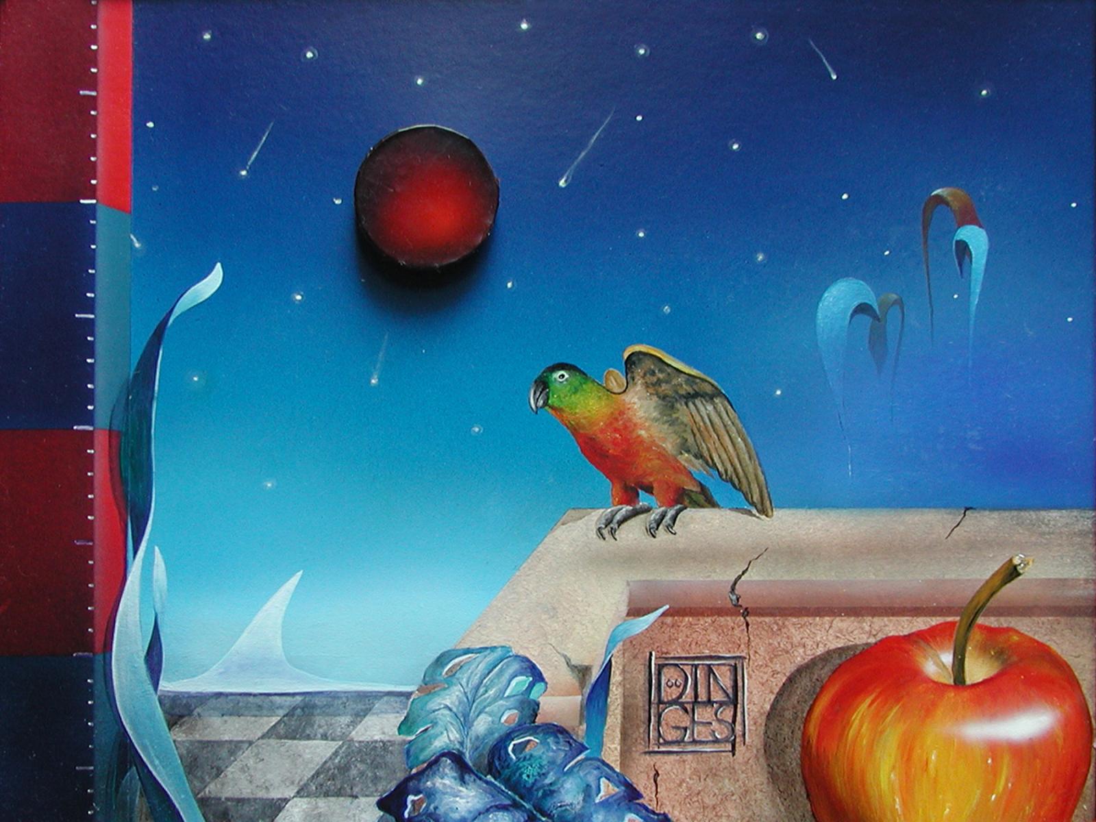 """""""Mann im Mond""""  Acryl , Öl auf Karton,  45 x 55 cm"""