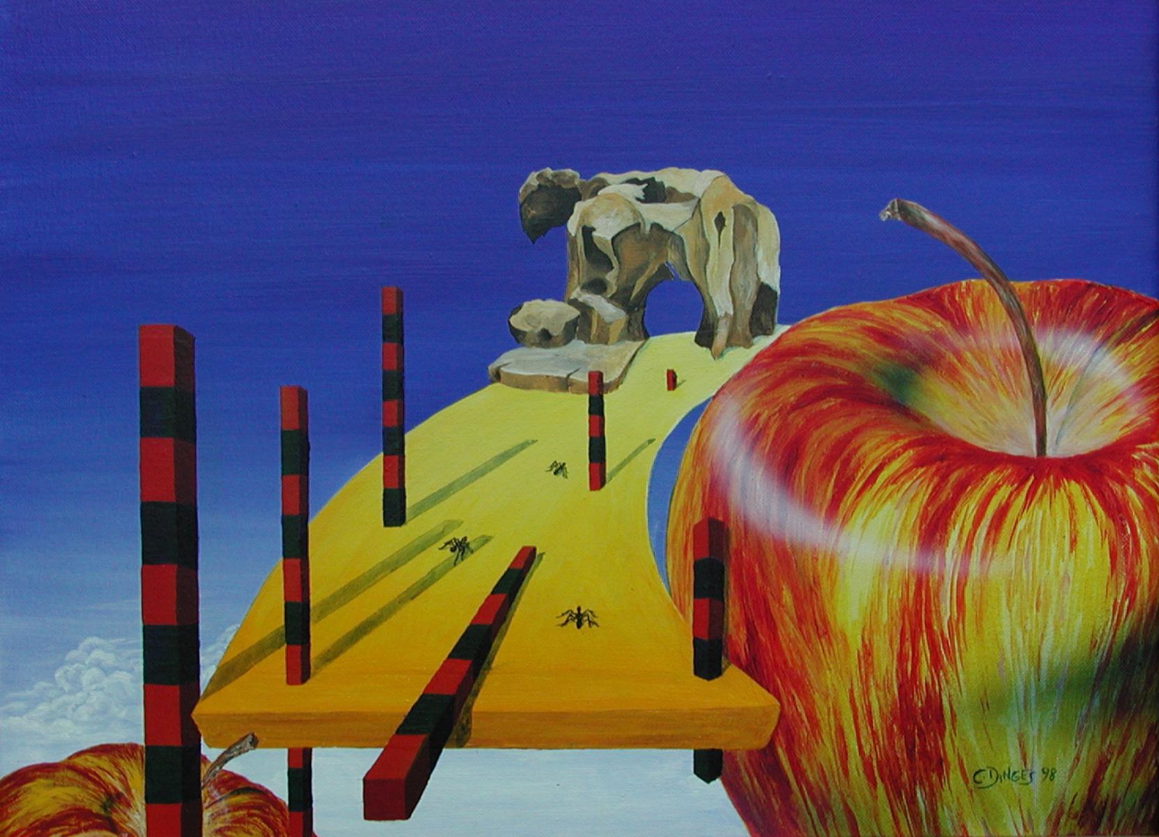 """""""Numerische Stäbe""""  Acryl , Öl auf Karton,  45 x 55 cm"""