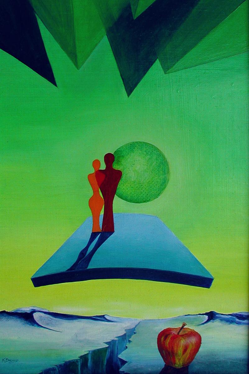 "Over paradies""  Acryl , Öl auf Karton,  50 x 34 cm"