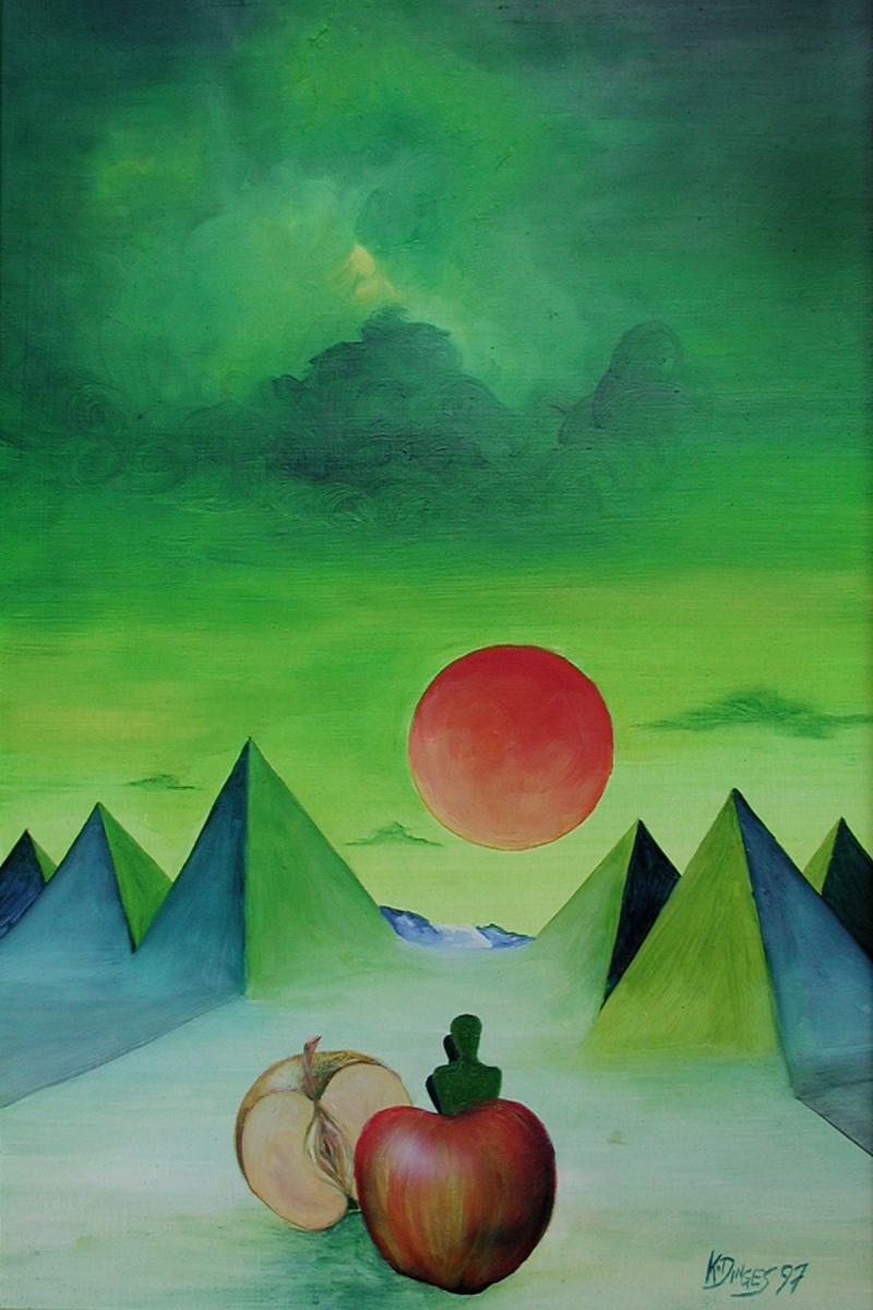 """""""Red moon""""  Acryl , Öl auf Karton,  50 x 34 cm"""