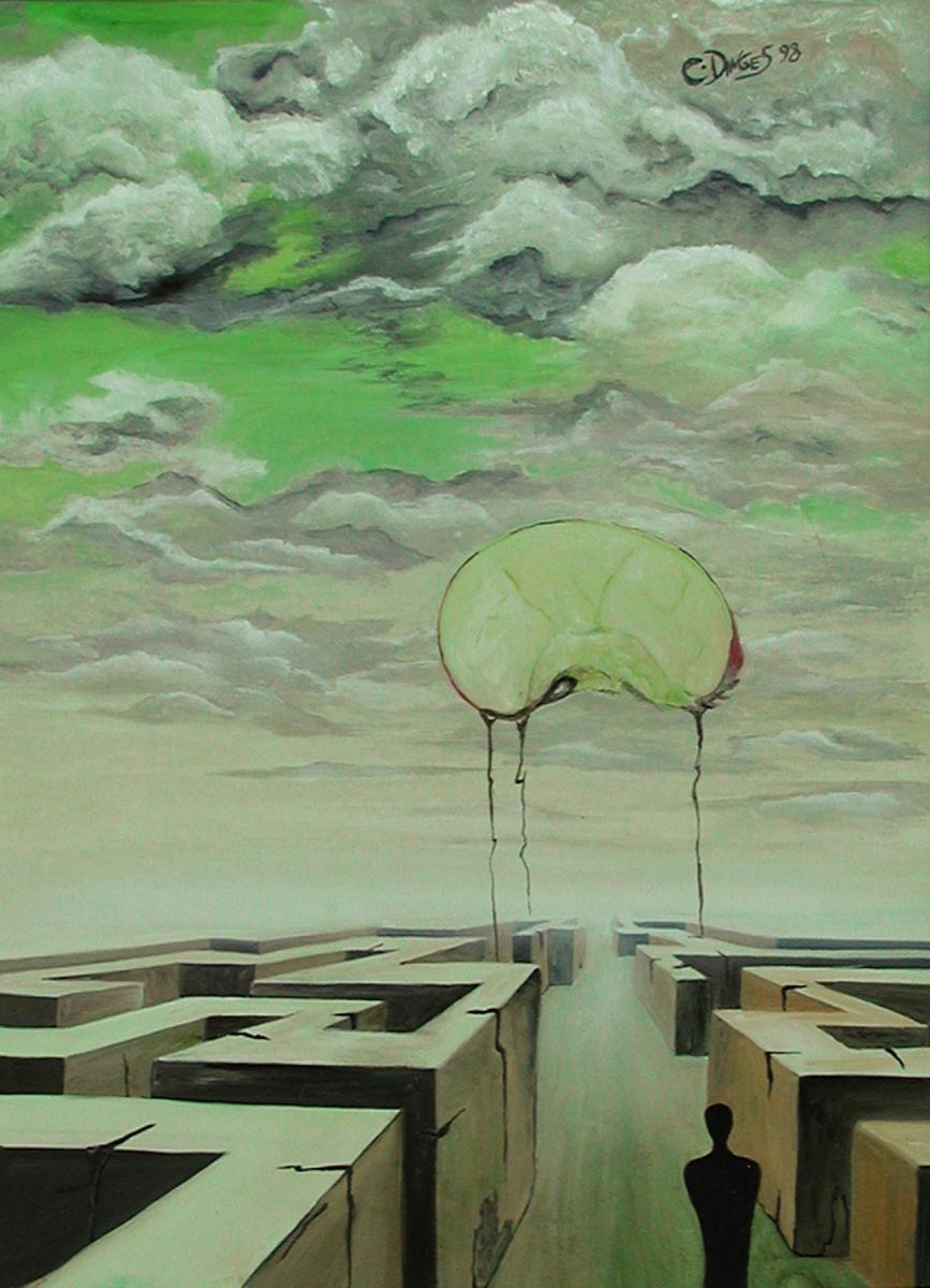 """""""Die Suche nach dem verlorenen Glück"""" , Öl auf Karton,  50 x 34 cm"""