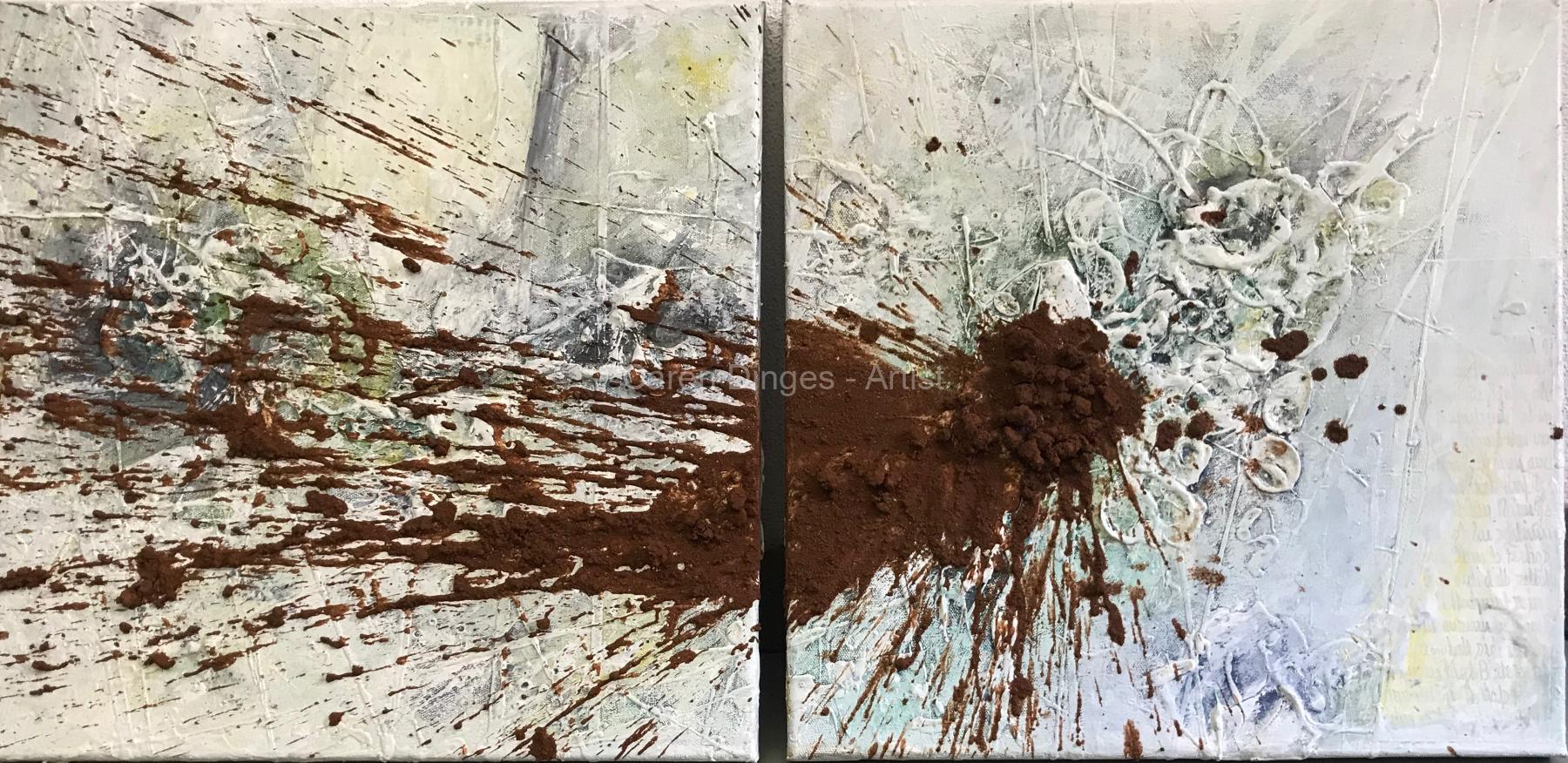 """Aus Terra Mater """"Was ist es was bleibt"""" Erde, Acryl auf Leinwand 2 x 50 x 50 cm"""