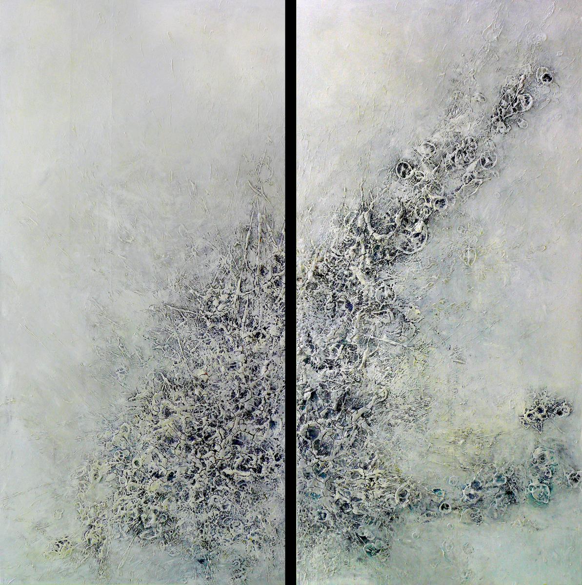 """Aus der Serie """"Was ist es was bleibt"""" 2 x 200 x 100 cm, Acryl, Papier auf Leinen"""