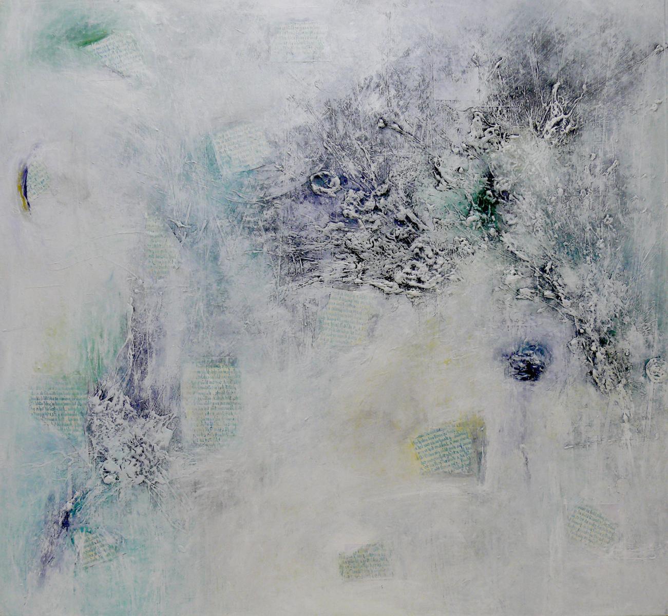 """Aus der Serie """"Was ist es was bleibt"""" 145 x 160 cm, Acryl, Papier auf Leinen"""