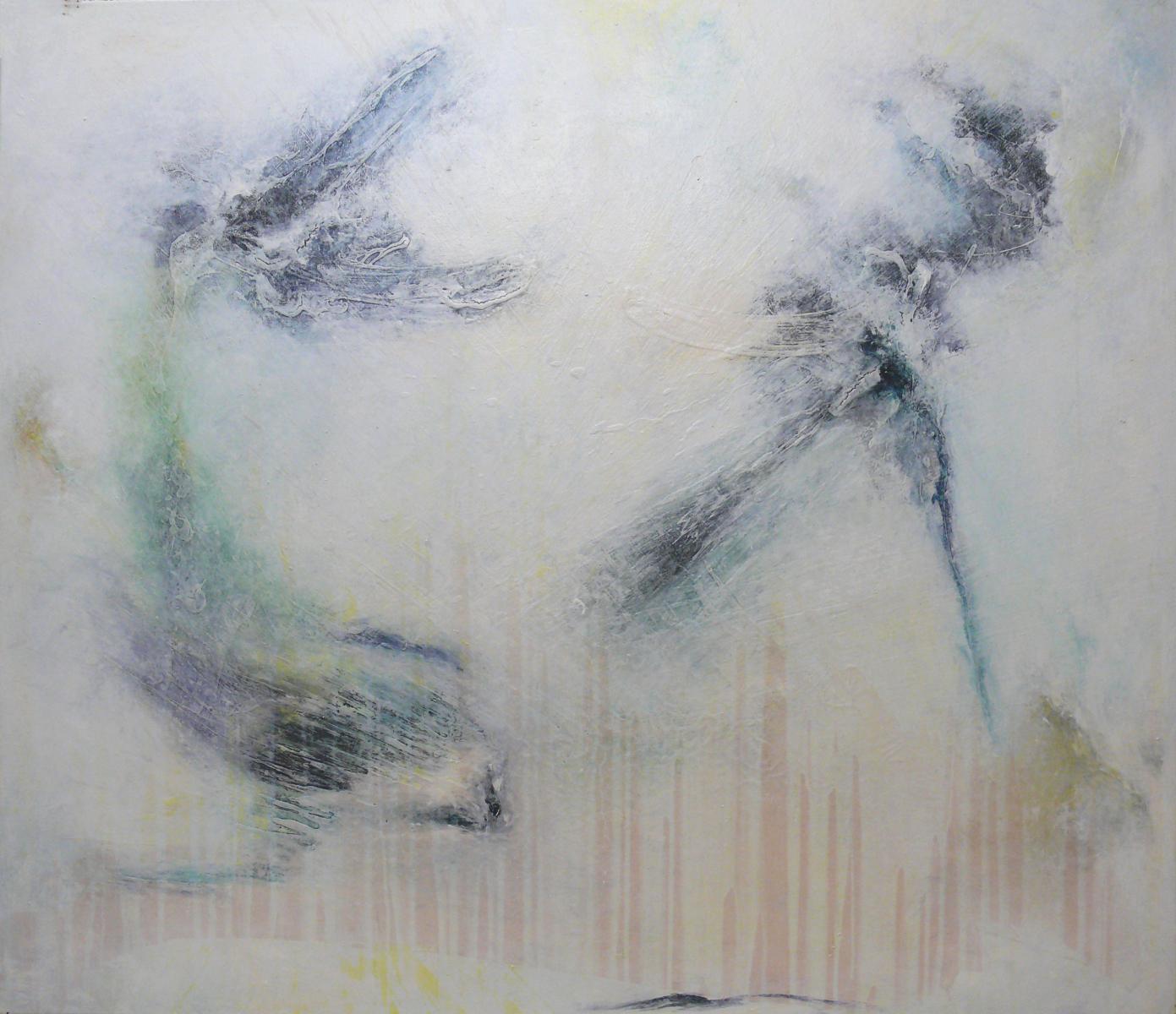 """Aus der Serie """"Was ist es was bleibt"""" 145 x 170 cm, Acryl, Papier auf Leinen"""