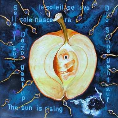 """""""The sun is rising"""", 115 x 115 cm,  Acryl auf Leinen"""