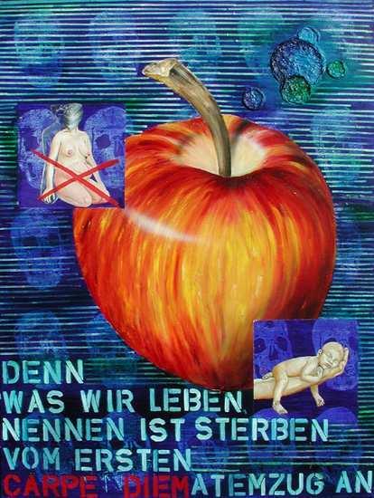 """Carpus diem - tempus fugit"", 115 x 115 cm,  Acryl, Predigten auf Leinen"