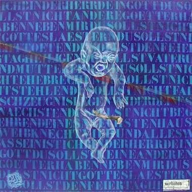 """""""10 Gebote"""", 115 x 115 cm,  Acryl auf Leinen"""