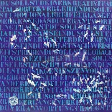 """""""Aborigines Gebote"""", 115 x 115 cm,  Acryl, Hasen Spuren auf Leinen"""