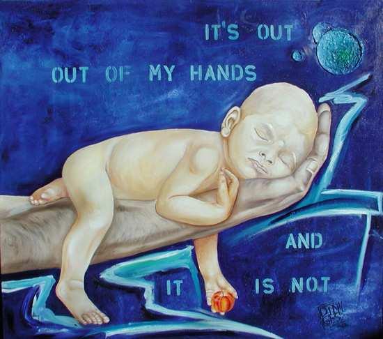 """Out of my hands"", 115 x 140 cm,  Acryl auf Leinen"
