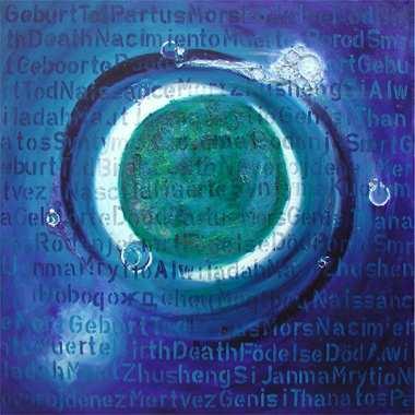 """""""Geburt und Tod"""", 115 x 115 cm,  Acryl, Predigten auf Leinen"""