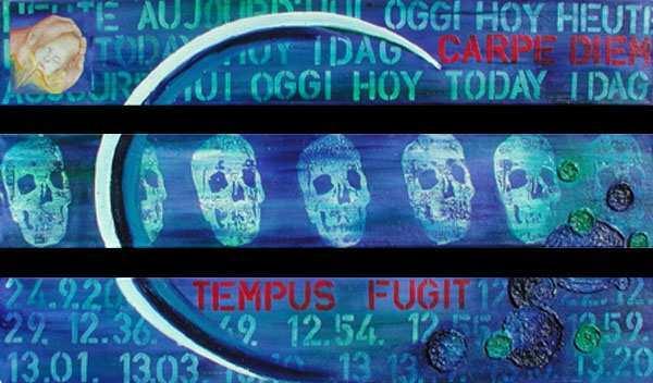 """Carpus diem - tempus fugit II"",  3 x 115 x 20 cm,  Acryl auf Leinen"