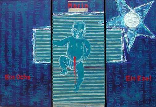 """""""Weihnachtsgeheimnis"""", 3 x 115 x 50 cm,  Acryl , Predigten auf Leinen"""